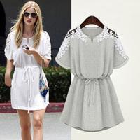 Summer Plus Size Female Clothing Fashion Short-Sleeve Slim Waist Small Fresh Lace Dress Women