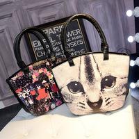 2015 women's handbag fashion design with three printing pattern B284