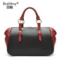2014 first layer of cowhide shoulder bag fashion handbag for fashion cross-body BOSS genuine leather color block women's handbag