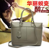 Genuine leather patchwork shoulder bag casual handbag lock fashion women's handbag big bag