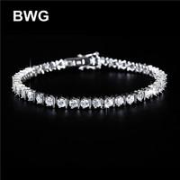 BWG Fashion Jewelry Trend Bracelets Silver Plated A+++ Clear Cubic Zirconia Copper Bracelet For Women SS1011