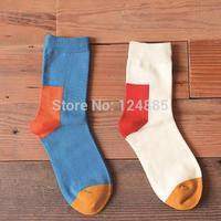 Wholesale fashion women men socks color match couple lovers casual cotton sock 2 Pairs/lot 52283