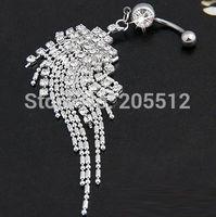 A015-1 Hot Sale  Steel Rhinestone Belly Navel Ring Barbell  Dangle Body Piercing Jewelry Body