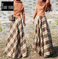2015 autumn new wool skirt women's casual long skirt high waist plaid maxi skirt high quality winter woolen skirt 4 colors