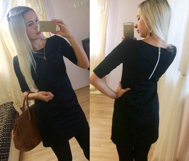 Прямое короткое черное платье