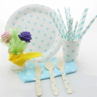 Wooden Forks Knifes Spoons paper cups paper straws New dot Party Supplies paper bags round paper plates