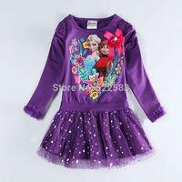 2014 New design Free shipping princess lovely long sleeves anna elsa frozen winter dress girls winter dress