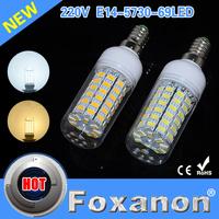 Foxanon Brand New E14 69SMD Corn Bulb Led Lamps 5730 220V Ultra Bright LED Lights Christmas Chandelier Candle Lighting 5PCS/Lot