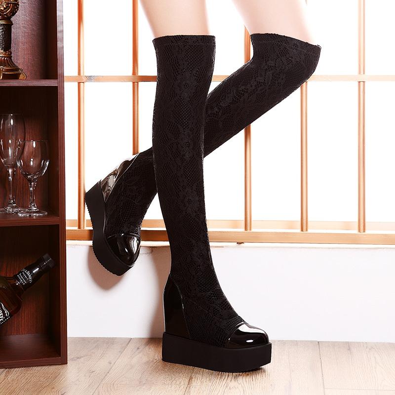 ramon moolecole 2014 novo inverno estilo 808-11 overknee botas mulheres negras bombas frete grátis laço tecido respirável sandálias(China (Mainland))