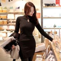 2015 New Autumn fashion high collar base dress slim long sleeve dress Black S-XXL