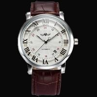 Original brand Winner Silver Bezel Roman Arabic Numerals Display Auto Mechanical Watches for Men Gift