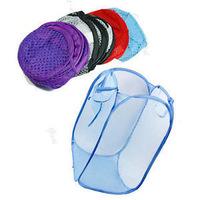 Foldable Storage Pop Up Laundry Hamper Clothes Basket Mesh Fabric Foldable Pop Up Dirty Clothes Washing Laundry Basket Bag