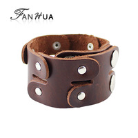 Black Brown PU Leather Bracelet Female And Male New Year Gift Factory Price With Alloy Button Decoration