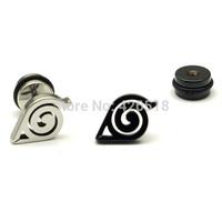 Unisex Earrings Symbol Animation Gaara Japanese Anime Earring Stainless Steel Men Screw Back (pierced) Stud Earrings