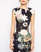 Fall  Women's European and American pastoral England printing Slim Slim package hip skirt dress lotus 9207