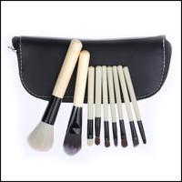 9Pcs Wood Handle Makeup Brushes Kits Premium Synthetic Make Up Powder Brush Set Kit Professional Cosmetics Tools
