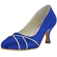 "2015 Fashion Women Pumps EP2021 Blue Euro 40/US 9  Round Toe Rhinestone 2.5"" Spool Heel Satin Wedding Bridal High Heel Shoes"