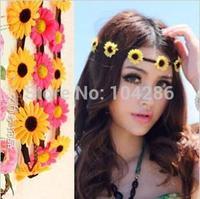 Sunflower Bohemian Garlands Headband Festival Flower Hairband Wedding Floral Garland Hair Band Headwear Hair Accessories