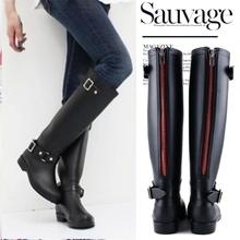 New Fashion high heel Motorcycle rain boots slip Buckle Strap PVC Rubber Knee-high zipper Women rainboots,Free shipping(China (Mainland))