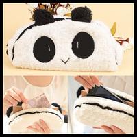 2014 new hot sale Fashion Cute Panda Soft Plush Lovely 3D Panda Pattern Pencil Pen Case Cosmetic Makeup Bag Pouch Hot