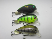 Crazy Fish - 3x Freshwater Shallow Water Floating Crankbait Pike Bass Lure VMC BN Hook
