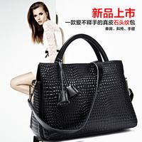 2014 first layer of cowhide stone pattern shoulder bag cross-body fashion portable genuine leather women's handbag big bag