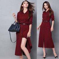 Fashion autumn and winter elegant long-sleeve basic one-piece dress slim placketing banquet long design formal dress full dress