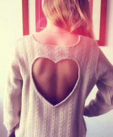 autumn and winter  100%COTTON casual women pullover sweater  heart backless hollow out long sleeve sweater