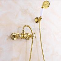 Wall Mounted Golden Polished Handheld Shower Set Faucet Dual Handles + Handshower Bracket