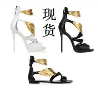 2014 women's shoes gz fashion gold leaf sandals wedding shoes
