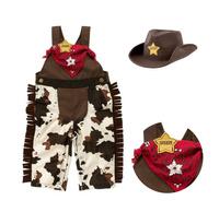 Summer newborn baby boy Romper Set cowboy style overalls, hats bibs 3 pieces toddler clothing