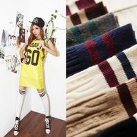 Fashion stripe over-the-knee sports socks 100% cotton twist piles of dsmv socks