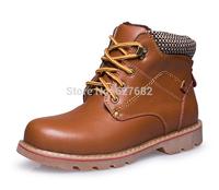 2014 Men Winter Fashion Snow Boots Genuine Leather  Martin Vintage Brand Fashion Fishing Rubber Villus Hunting Warm Shoes 38-43
