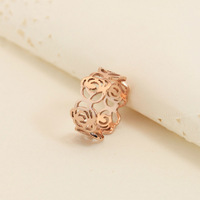 18KGP Rose Gold Plated Titanium Steel Camellia Rings Fashion Brand Jewelry for Women Free Shipping (GR153)