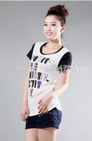 women lady T-shirt  lady  cotton fashion shirt short sleeve Appliques   XT_002555  brand new free shipping