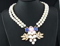 2014 Bohemia Pearl Chain Necklace Fine Jewelry Wholesale Big Choker Statement Necklace colares femininos XL0789