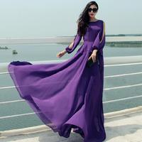 Summer dress 2015 women chiffon maxi long dresses fashion floor-length plus size solid print vintage elegant casual dress,B2818