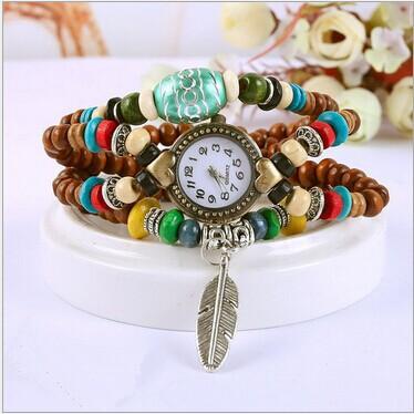 free shipping, new arrival, handmade vintage bracelet watch, student watch, Buddha beads series female watch(China (Mainland))