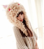 New autumn and winter, the Eskimos space large circle rabbit ears warm wool hat cute fur ball