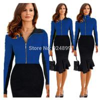 2015 New Fashion  Women Celebrity  Style zipper Turn-down collar long  Sleeve Sheath Cocktail fishtail Patchwork  dress 3239