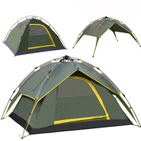 High Quality 3Usage  Outdoor Tent Camping Fishing Equipment 2Doors 2Layers Automatic Opening Polys Tent for 3-4People 4Seasons