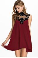 dear-lover roupas femininas vestido renda curto 2014 Velvet Floral Inserting High Neck flare short Skater Dress LC21773