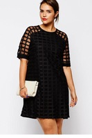 dear-lover new vestido Netty Mesh Overlay Plus Size Mini Dress LC21815 roupas femininas