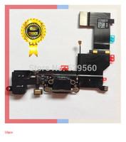 10PCS  Original  Black~  Charging Port Flex Cable Microphone Headphone Jack parts For apple 5S  Free Shipping