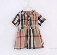 2014 new European &American classic plaid girls dress,Summer short sleeve children clothing dress for girls, baby girl dresses