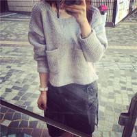 * Panda * 2014 autumn new European design irregular long-sleeved sweater sweater female