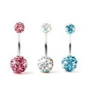 A029-1  Free Shipping  stainless steel rhinestone body piercing navel belly ring jewelry