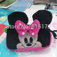 1 piece 19cm With 2 Zipper For Children Girl School Birthday Gift Kawaii Cute Rectangular Pink Bow Plush Minnie Mouse Pencil Bag