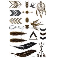 1pc/lot/TJ012,Temporary Tattoo Metallic/Feather,Arrow,Swallow/waterproof Gold Flash fake tatoo Sex body art/Christmas gift