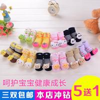Newborn baby socks children socks cartoon male 100% cotton spring and autumn slip-resistant stereoscopic footgear